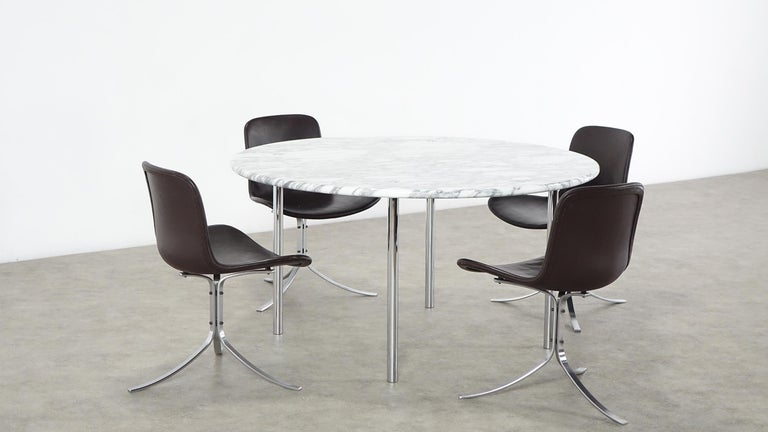 American Estelle & Erwin Laverne Carrara Marble Dining Table Laverne International 1951 For Sale