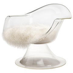 Estelle & Erwin Laverne Lucite 'Jonquil' Chair with Mongolian Fur Seat