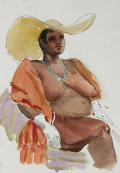 Colorful Seated Female Nude in Sun Hat, Paper and Ink Collage, Circa 1970s