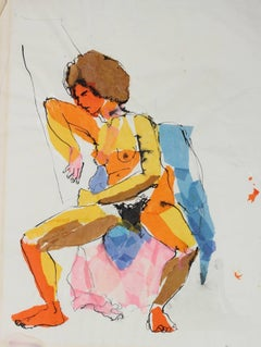 Colorful Seated Nude, Paper and Ink Collage, Circa 1970s