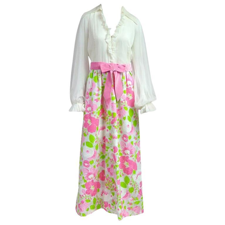 Estevez Floral Maxi Dress Poet Sleeves - Vintage 1970s