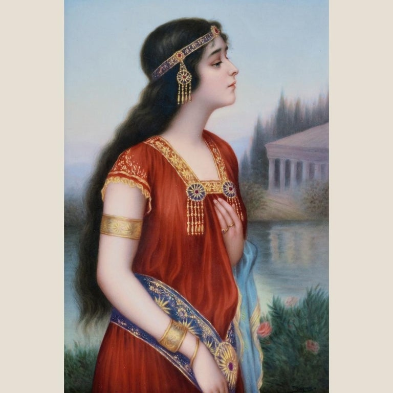 'Esther' A Fine Berlin (KPM) Porcelain Plaque, After Hering Levanon. In a carved giltwood and composition frame.   Signed 'Wagner', impressed sceptre mark, KPM, letter C, numeral 3, incised 137 / 156.  The famous Wagner family of porcelain