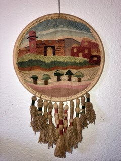 Jerusalem Wall Hanging Hand Embroidered tapestry Israeli Craft Judaica Folk Art