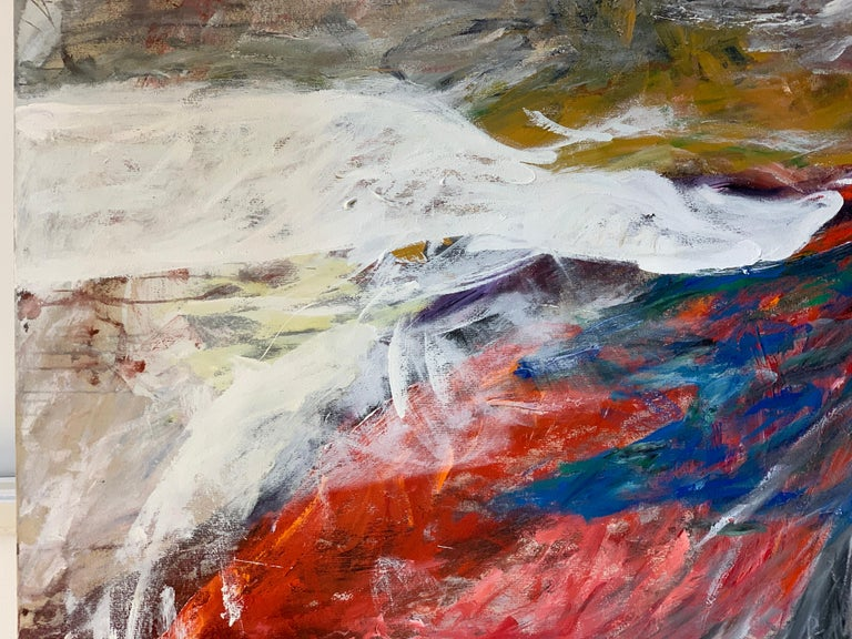 A wonderful abstract by the Chinese/American artist Esther Liu (b 1950). This painting is signed on the reverse on the stretcher. It is large at 59 x 66 inches in dimension. It is in good age appropriate condition with minor imperfections.