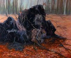 Fallen Tree Stump- 21st Century Landscape Painting of a Fallen Tree in a Forest