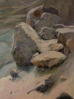 Sand and Steep wall- 21st Century Landscape Painting of Stones in a Quarry