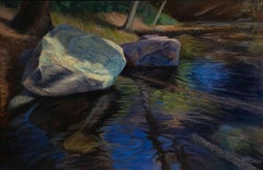 Variegated Sandstone- 21st Century Landscape Painting of a river with sandstones