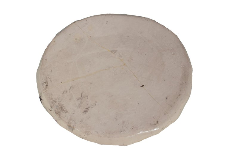 'White Stoneware (Face)' original hand-built ceramic plate by Estherly Allen For Sale 1