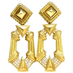 Esti Frederica Designer 18 Karat Byzantine Diamonds Door Knocker Earrings