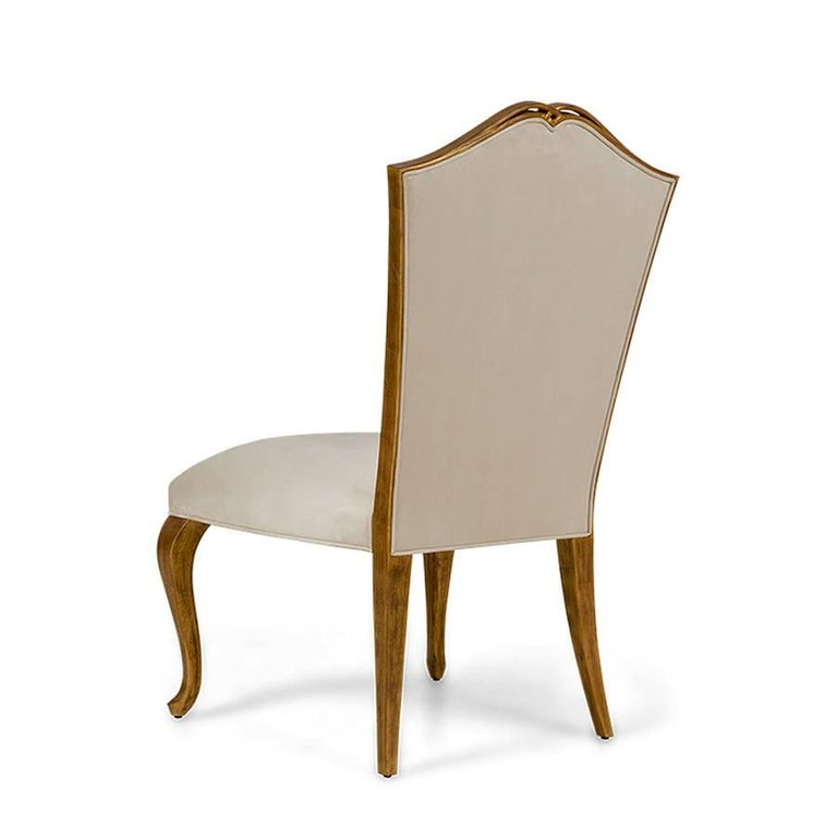 Hand-Crafted Estiva Chair with Mahogany Structure with Gold Painting and High Quality Fabric For Sale