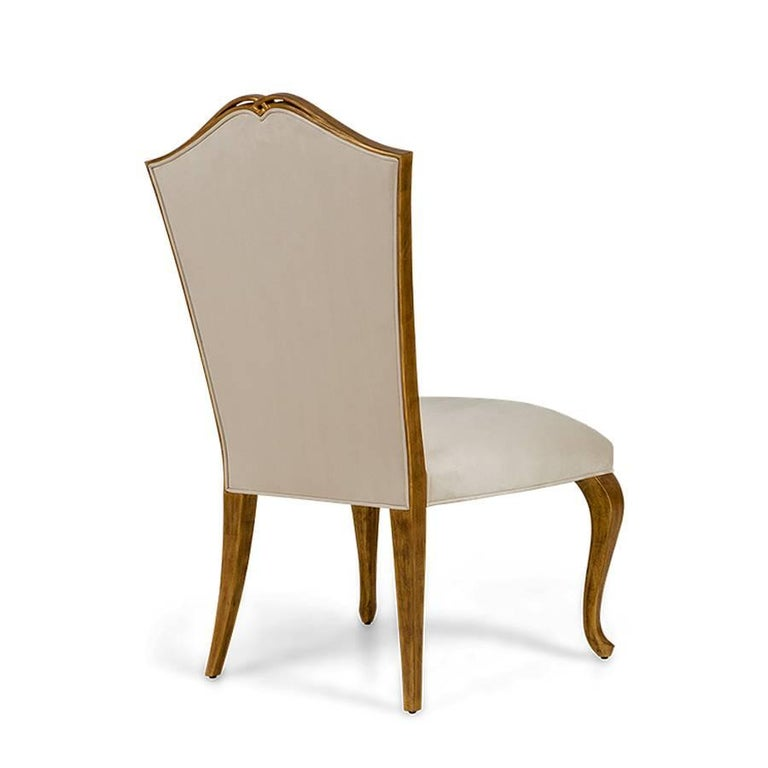 Estiva Chair with Mahogany Structure with Gold Painting and High Quality Fabric In Excellent Condition For Sale In Paris, FR