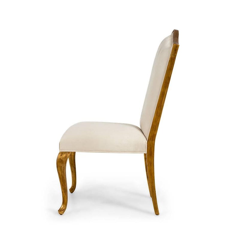 Contemporary Estiva Chair with Mahogany Structure with Gold Painting and High Quality Fabric For Sale