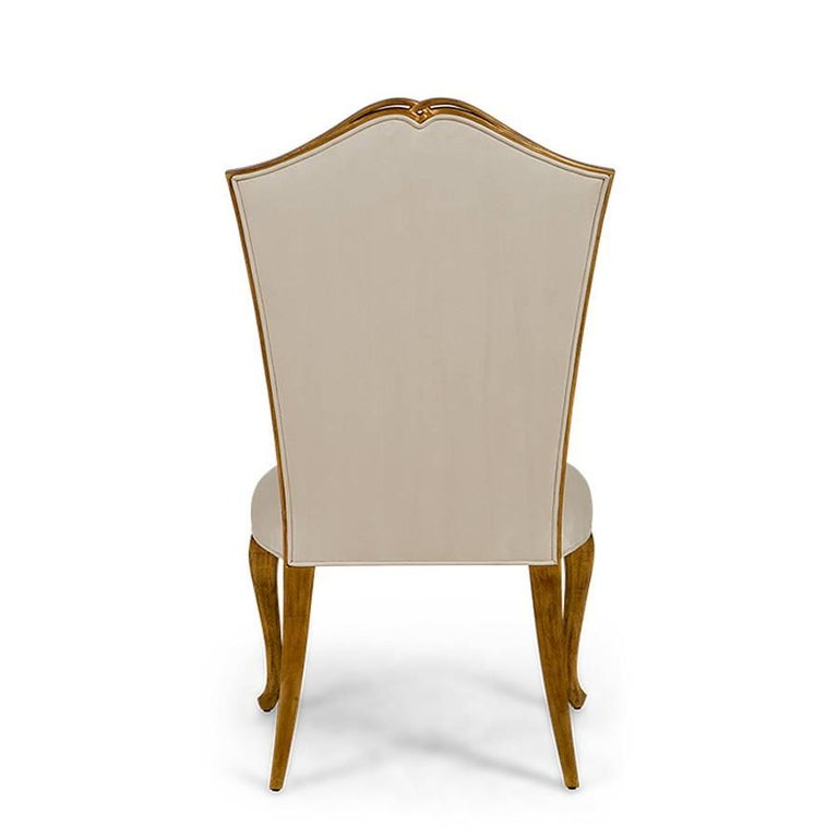 Estiva Chair with Mahogany Structure with Gold Painting and High Quality Fabric For Sale 1