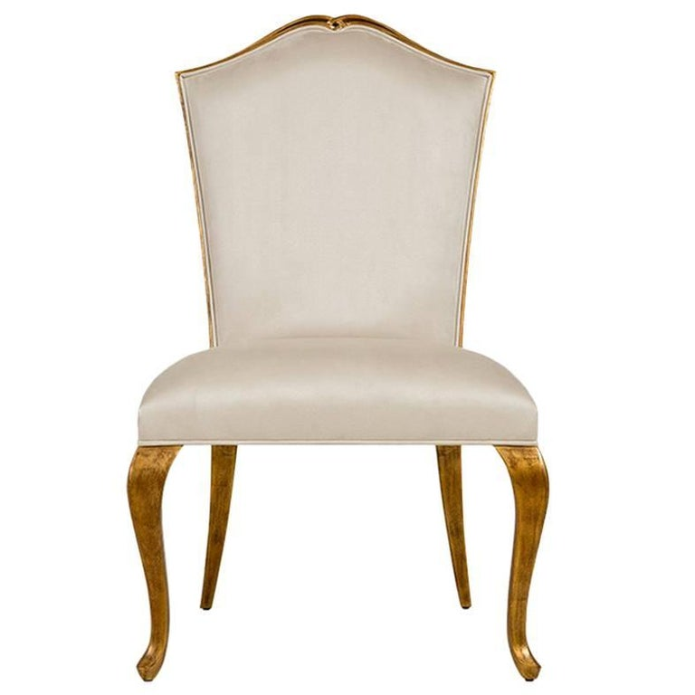 Estiva Chair with Mahogany Structure with Gold Painting and High Quality Fabric For Sale