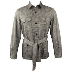 ESTNATION Size M Grey Houndstooth Wool Blend Buttoned Jacket