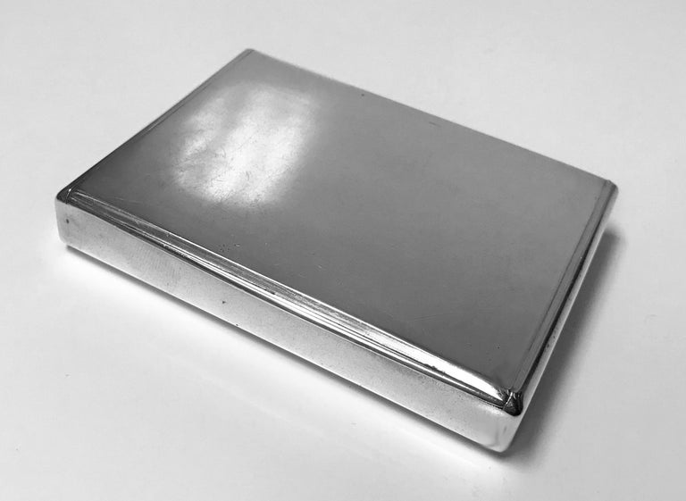 Estonian Silver heavy Cigarette Case, Estonia C.1925. Plain, flush hinge, gilded interior. No monograms, original patina, extremely light wear, mentioned for accuracy purposes only. Nice heft and gauge of silver. Marks on cover and base