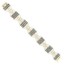 Estyn Hulbert Blue Pearl Gold Celtic Knot Chain Bracelet