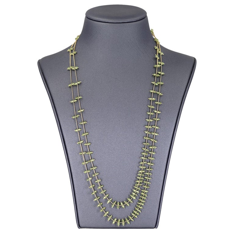 Artist Estyn Hulbert Faceted Peridot Golden Chain Handmade Long Rain Necklace For Sale
