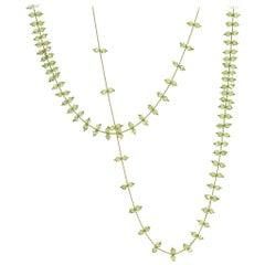 Estyn Hulbert Faceted Peridot Golden Chain Handmade Long Rain Necklace