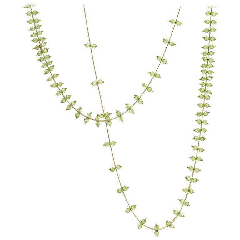 Estyn Hulbert Faceted Peridot Golden Chain Handmade Long Rain Necklace For Sale
