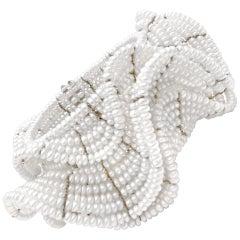 Estyn Hulbert White Pearl Ruffle Flexible Cuff Bracelet
