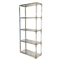 Etagere, Lucite, Polished Aluminum and Glass