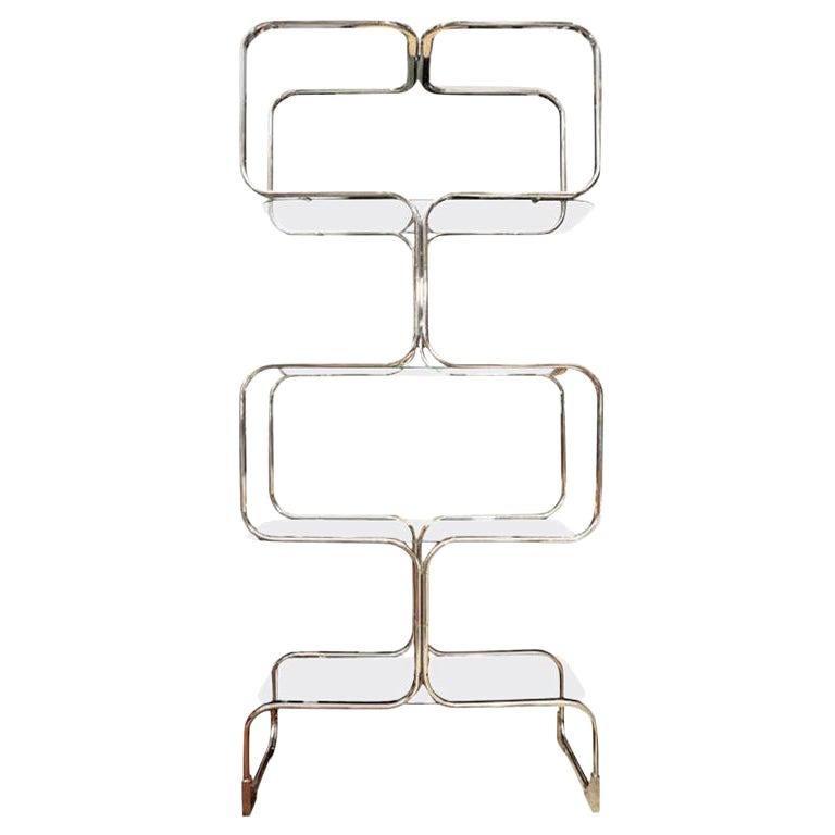 Étagère, Mid-Century Chrome Shelving Unit, Mid-Century Modern, C 1960, Chrome For Sale