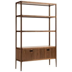 Radius Étagère in Walnut with Solid Shelves and Two Drawers by Munson Furniture