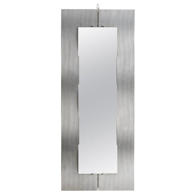 """Etched Aluminum """"Wave"""" Full Length Mirror by Lorenzo Burchiellaro, 1970 For Sale"""