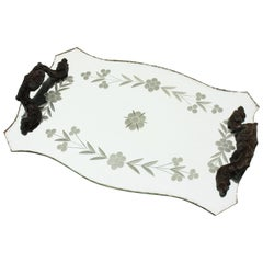 Etched Beveled Mirrored Tray with Floral Details and Handles