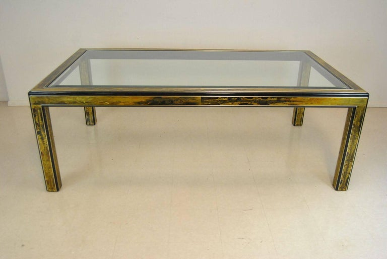 Etched Brass and Glass Top Dining Room Table by Bernard ...