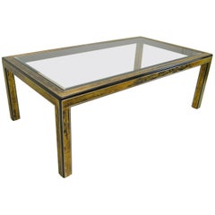 Etched Brass and Glass Top Dining Room Table by Bernard Rohne for Mastercraft
