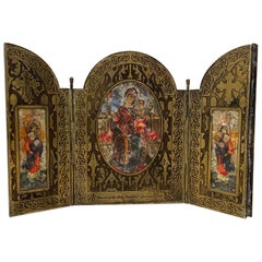 """Etched Brass """"Church of the Holy Sepulchre"""" Travel Altar, circa 1909"""