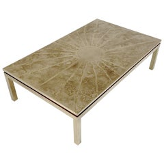 Etched Brass Coffee Table, 1970s, Belgium