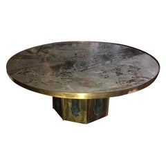 Etched Brass Coffee Table by Laverne