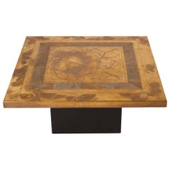 Etched Brass Coffee Table Signed by Christian Krekels, circa 1977