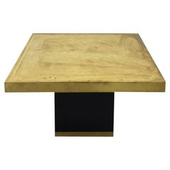 Etched Brass Top Square Side Table with Chinese Border Design
