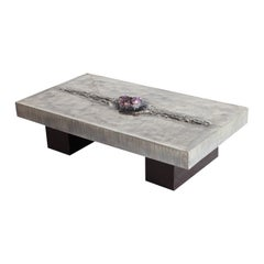 Etched Coffee Table with Amethyst Inlay by Marc D'Haenens