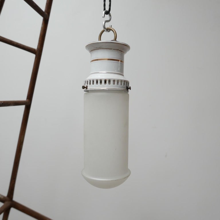 Etched Glass German Antique Tube Pendant Lights '4' For Sale 8