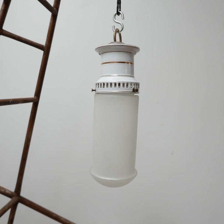 Etched Glass German Antique Tube Pendant Lights '4' For Sale 2