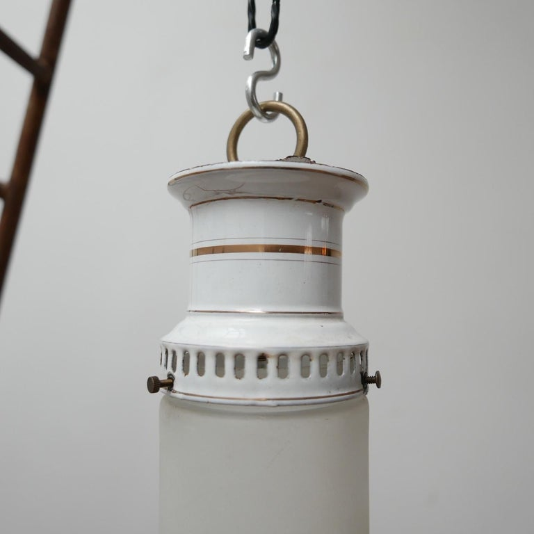 Etched Glass German Antique Tube Pendant Lights '4' For Sale 5