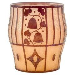 Etched Glass Vase Brown Yellow circa 1912 Josef Hoffmann Loetz Austria Art Deco
