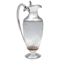 Etched Glass Victorian Antique Sterling Silver Claret Jug from 1868
