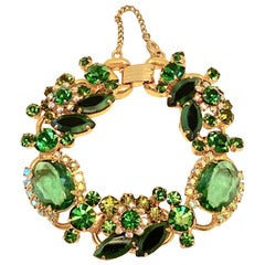 Etched Gold Vermeil Hardware with Multi-Size Emerald-Green Inlay Accent Bracelet
