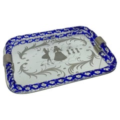 Etched Murano Glass Mirrored Tray by Ercole Barovier, Italy, 1960s