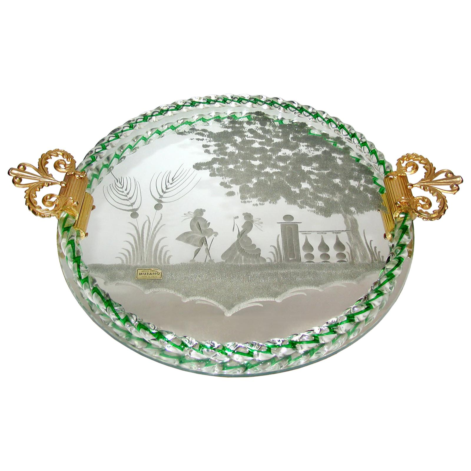 Etched Murano Glass Mirrored Tray with Bronze Handles