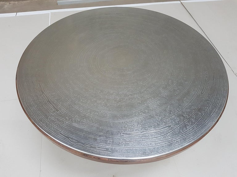 Rosewood Etched Pewter Coffee Table by Christian Krekels For Sale