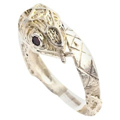 Etched Sterling Silver and Garnet Snake Ring