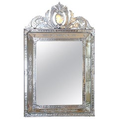 Etched Venetian Glass Wall Mirror