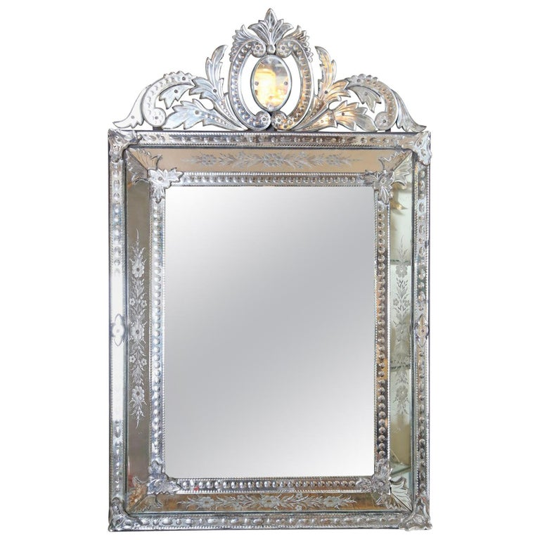 etched venetian glass wall mirror for sale at 1stdibs. Black Bedroom Furniture Sets. Home Design Ideas